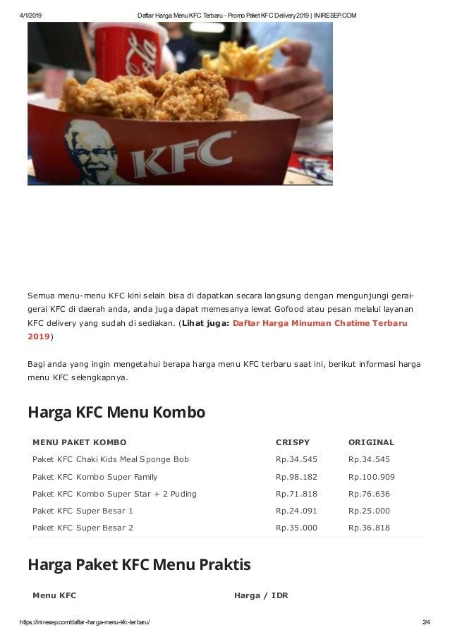 Daftar Harga Menu KFC Terbaru 2019