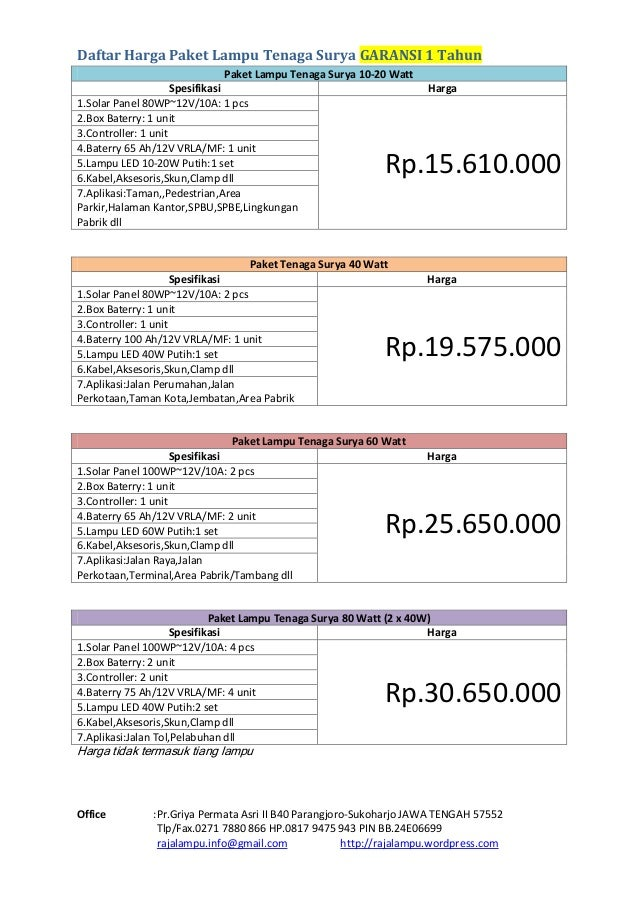 Daftar Harga Tiang Pju Tenaga Surya Katalog Paket Tenaga Surya 2015