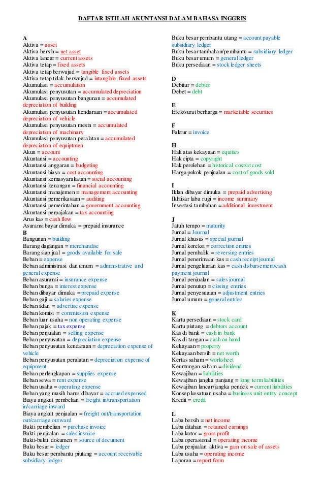 Daftar Istilah Akuntansi Dalam Bahasa Inggris