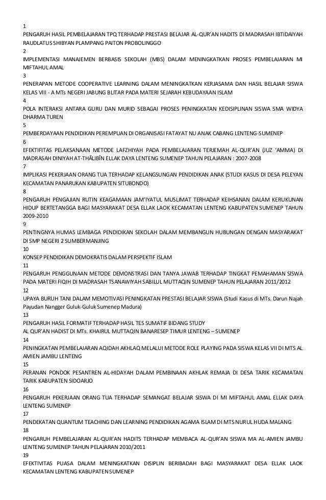 1 PENGARUH HASIL PEMBELAJARAN TPQ TERHADAP PRESTASI BELAJAR AL-QUR'AN HADITS DI MADRASAH IBTIDAIYAH RAUDLATUS SHIBYAN PLAM...