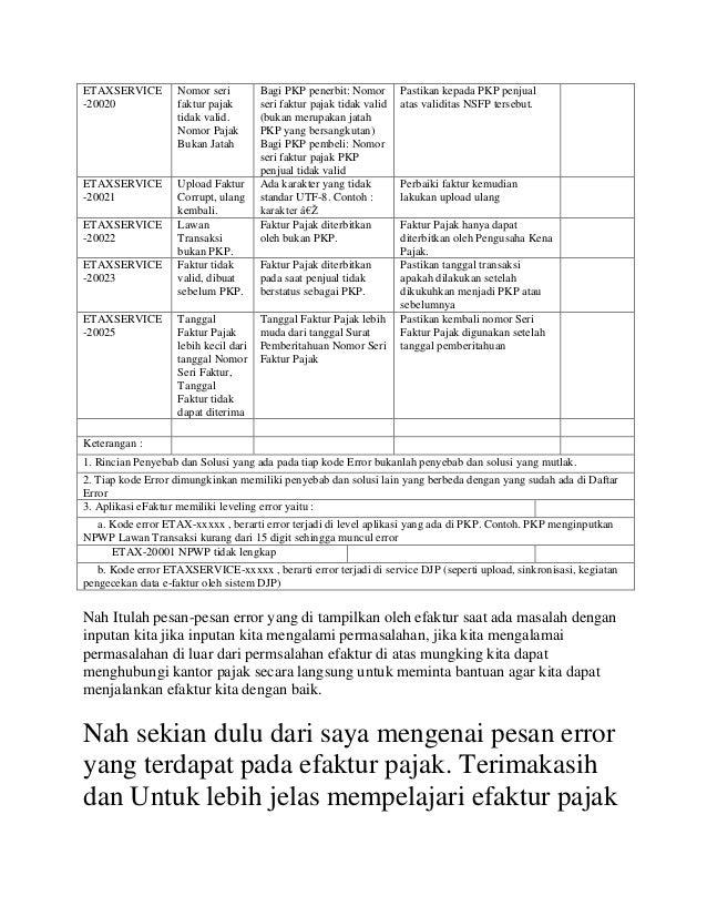 Daftar Kompilasi Error E Faktur Beserta Solusinya