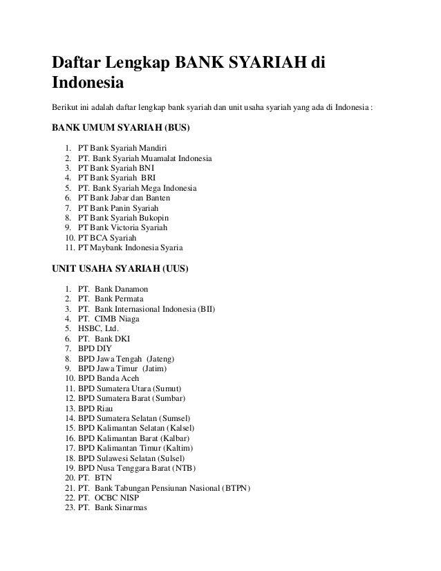 Daftar Nama Bank Syariah