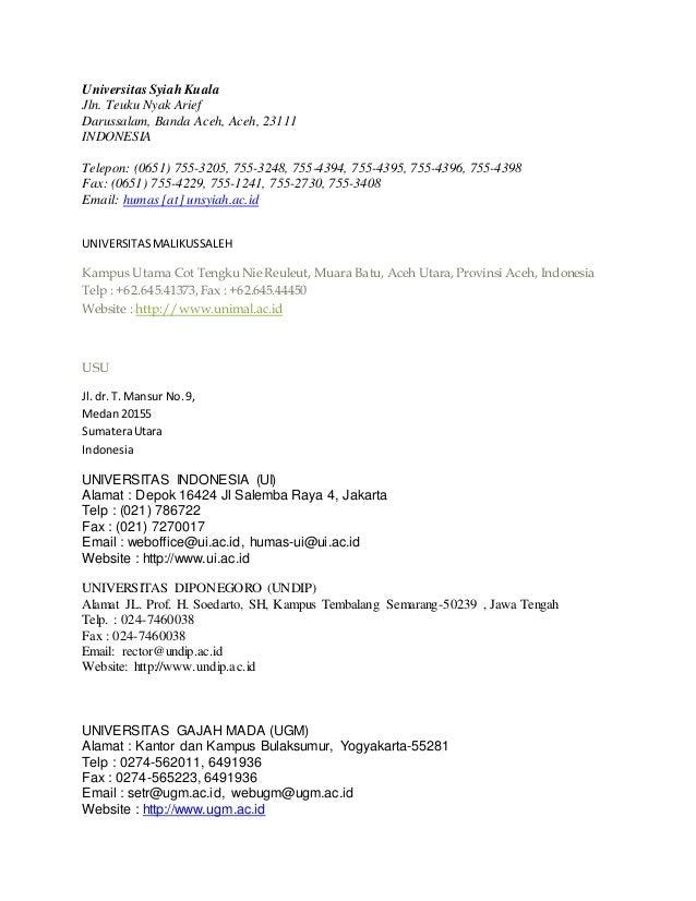 Universitas Syiah Kuala Jln. Teuku Nyak Arief Darussalam, Banda Aceh, Aceh, 23111 INDONESIA Telepon: (0651) 755-3205, 755-...