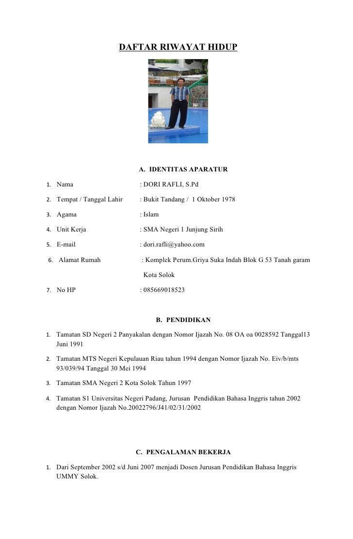 Daftar Riwayat Hidup Dori Rafli