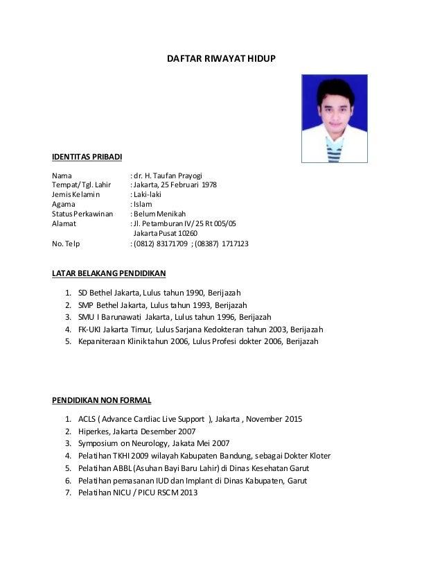 Contoh Daftar Riwayat Hidup Dokter Umum - Contoh Bass