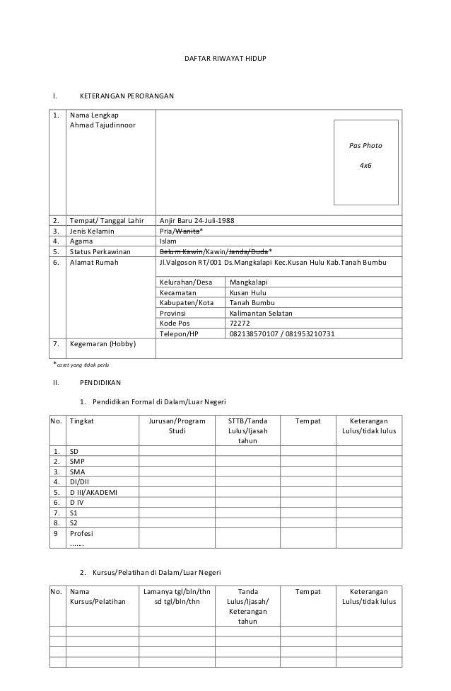 Format Riwayat Hidup Pns Altin Northeastfitness Co