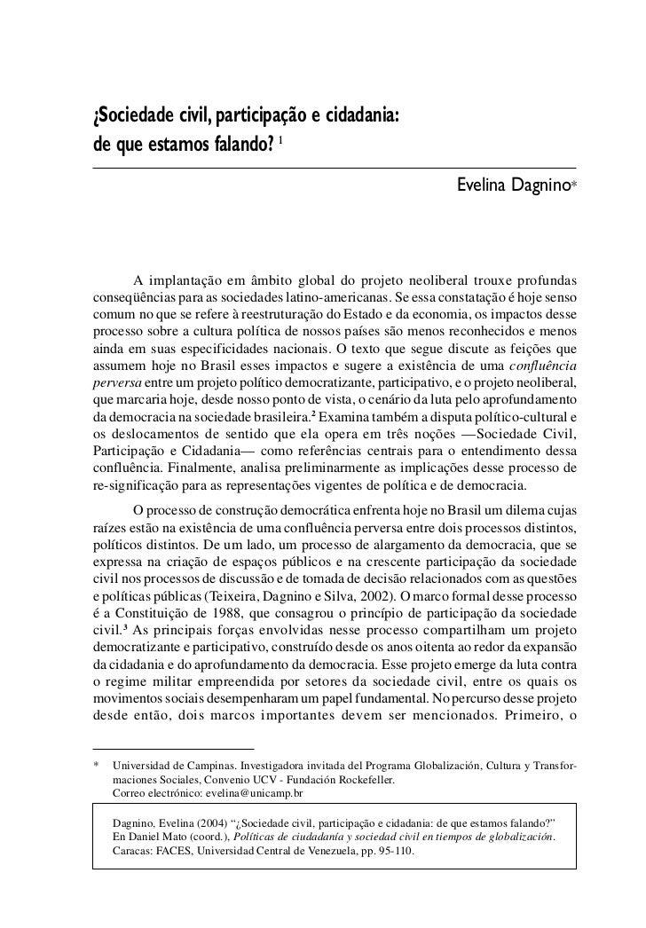 ¿SOCIEDAD CIVIL, PARTICIPACÃO E CIDADANIA: DE QUE ESTAMOS FALANDO?                                   95¿Sociedade civil, p...