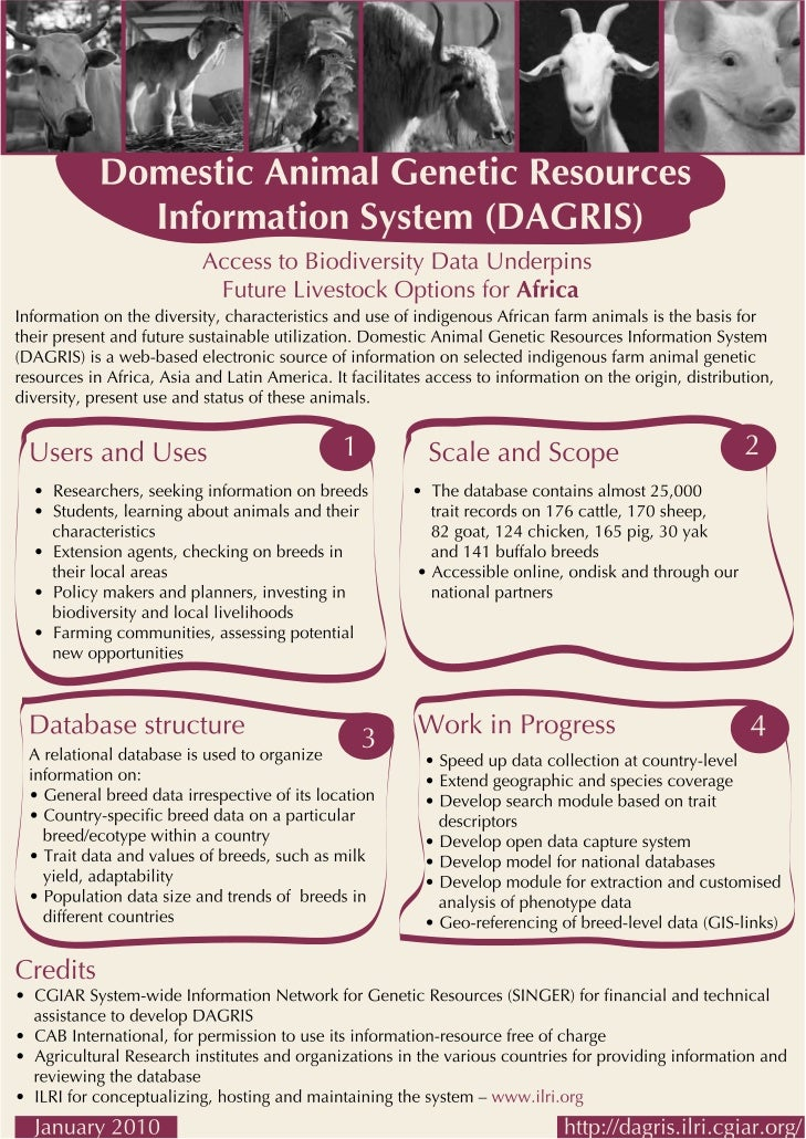 Domestic Animal Genetic Resources Information System (DAGRIS): access to biodiversity data underpins, future livestock opt...