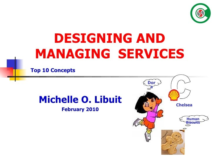 DESIGNING AND MANAGING  SERVICES Michelle O. Libuit February 2010 Top 10 Concepts Chelsea C Human Biscuits Dora