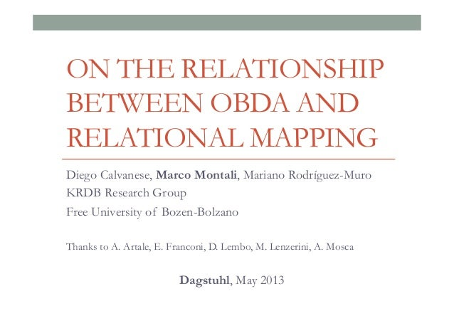 ON THE RELATIONSHIP BETWEEN OBDA AND RELATIONAL MAPPING Diego Calvanese, Marco Montali, Mariano Rodríguez-Muro KRDB Resear...