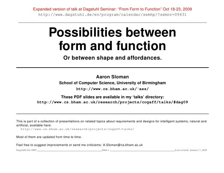 """Expanded version of talk at Dagstuhl Seminar: """"From Form to Function"""" Oct 18-23, 2009                 http://www.dagstuhl...."""