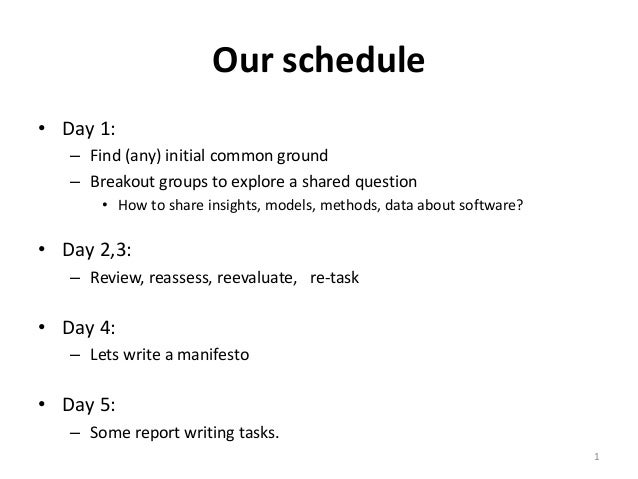 Our schedule • Day 1: – Find (any) initial common ground – Breakout groups to explore a shared question • How to share ins...