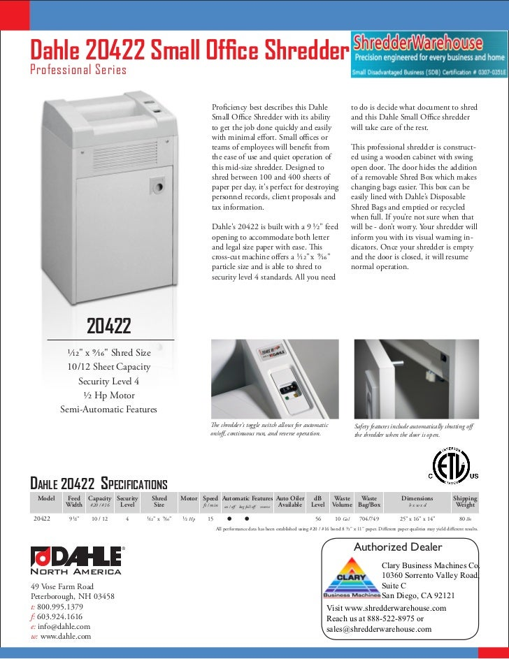 Dahle 20422 Small Office ShredderProfessional Series                                                                   Pro...