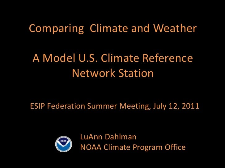Comparing  Climate and WeatherA Model U.S. Climate Reference Network Station<br />ESIP Federation Summer Meeting, July 12,...
