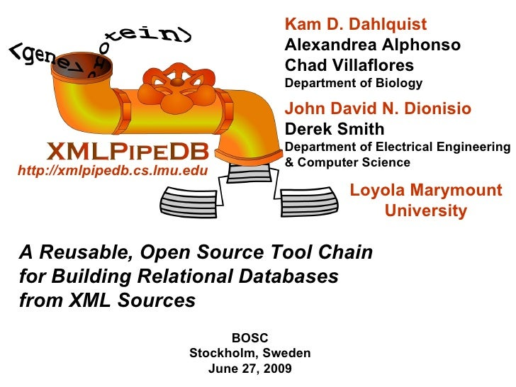 A Reusable, Open Source Tool Chain for Building Relational Databases from XML Sources BOSC Stockholm, Sweden June 27, 2009...