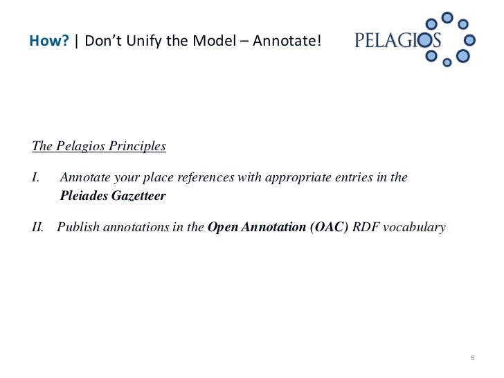 How? | Don't Unify the Model – Annotate!The Pelagios PrinciplesI.   Annotate your place references with appropriate entrie...