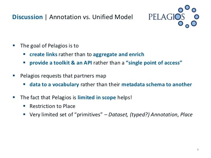 Discussion | Annotation vs. Unified Model The goal of Pelagios is to    create links rather than to aggregate and enrich...