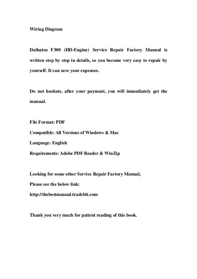 daihatsu f300  hd engine  service repair factory manual