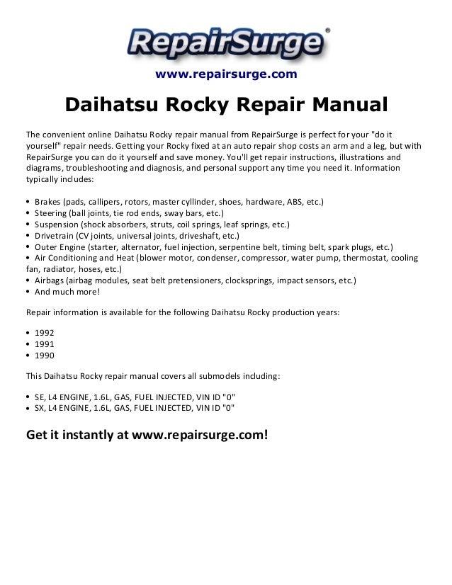 daihatsu rocky repair manual 1990 1992 rh slideshare net