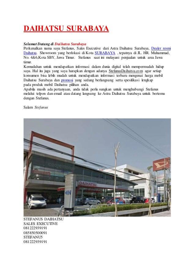 DAIHATSU SURABAYA Selamat Datang di Daihatsu Surabaya Perkenalkan nama saya Stefanus, Sales Executive dari Astra Daihatsu ...