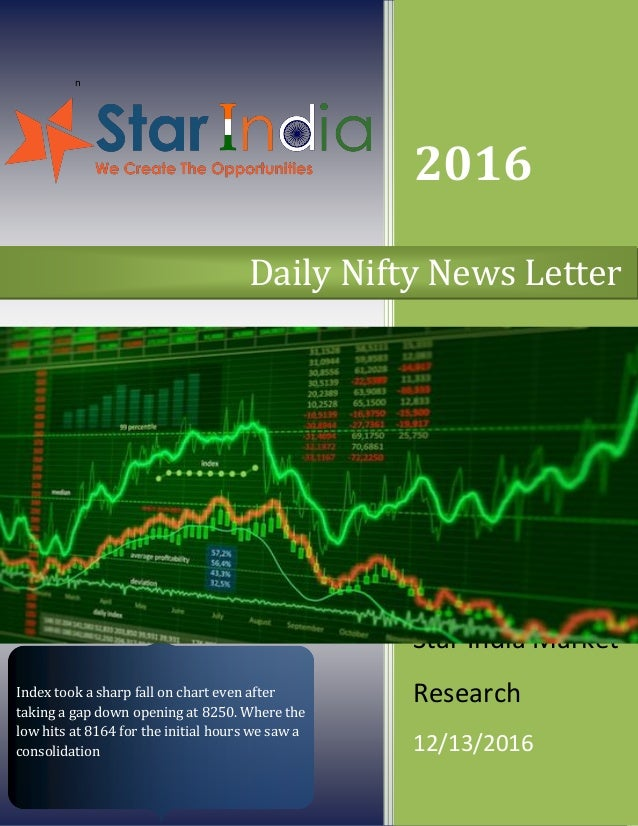 n 2016 Star India Market Research 12/13/2016 Daily Nifty News Letter Index took a sharp fall on chart even after taking a ...