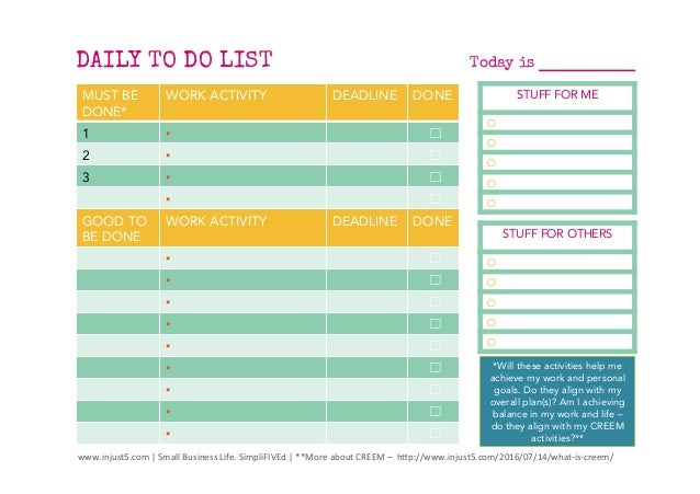 daily and and weekly to do list templates for small business