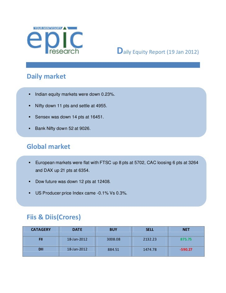 Daily Equity Report (19 Jan 2012)Daily market    Indian equity markets were down 0.23%.    Nifty down 11 pts and settle ...