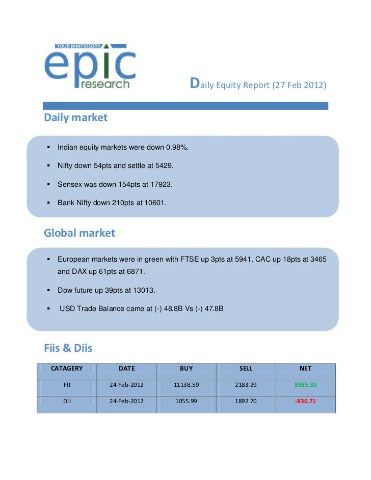 Daily Equity Report (27 Feb 2012)Daily market    Indian equity markets were down 0.98%.    Nifty down 54pts and settle a...