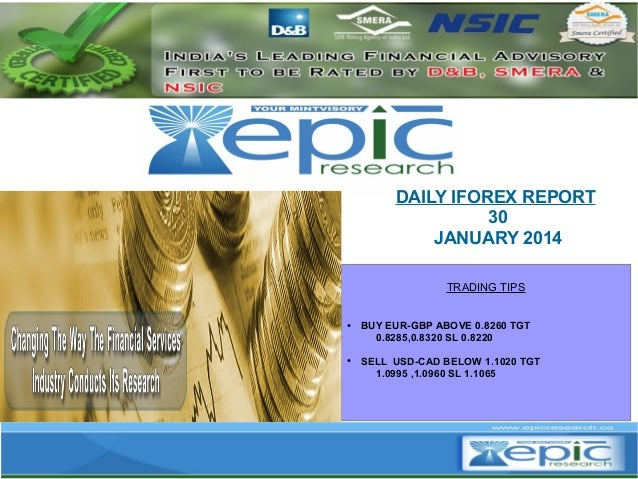 DAILY IFOREX REPORT 30 JANUARY 2014 TRADING TIPS  ●  ●  BUY EUR-GBP ABOVE 0.8260 TGT 0.8285,0.8320 SL 0.8220 SELL USD-CAD ...