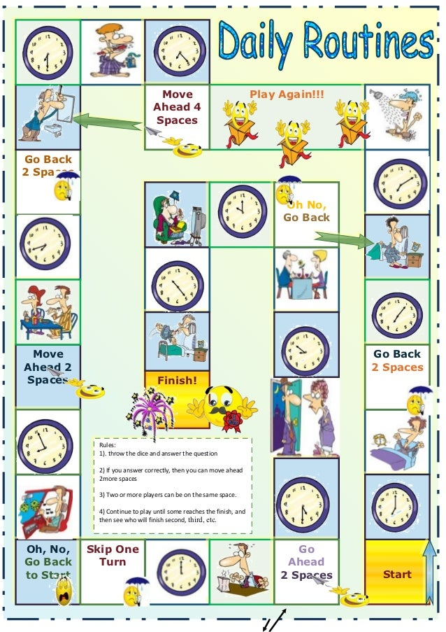 Daily Routinestime on Board Game Worksheet