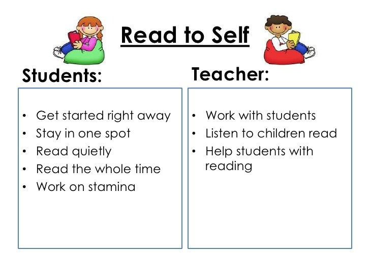 Read to SelfStudents:                    Teacher:•   Get started right away   • Work with students•   Stay in one spot    ...