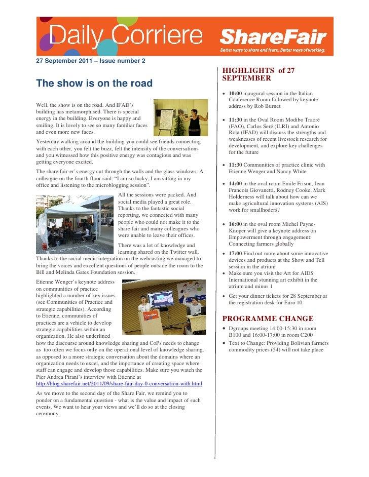 27 September 2011 – Issue number 2                                                                              HIGHLIGHTS...
