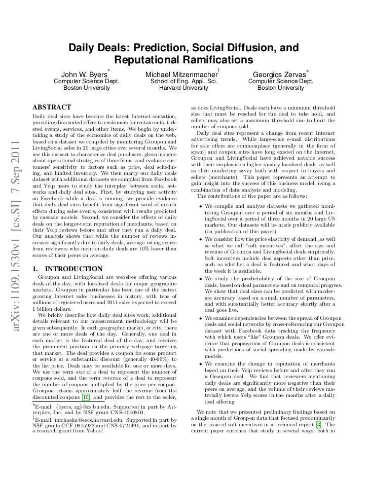 Daily Deals: Prediction, Social Diffusion, and                                                               Reputational ...