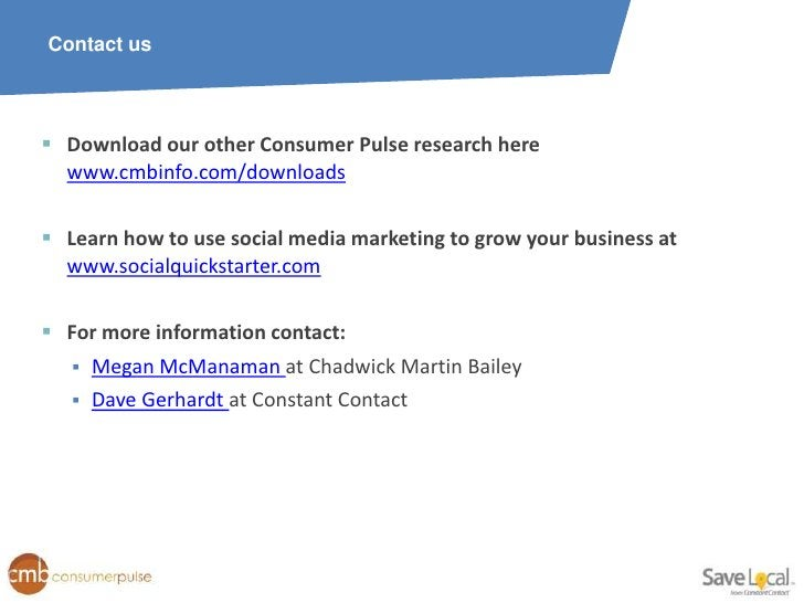 Contact us Download our other Consumer Pulse research here  www.cmbinfo.com/downloads Learn how to use social media mark...