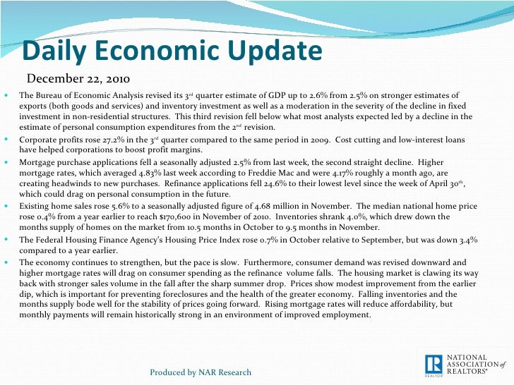 Daily Economic Update <ul><li>The Bureau of Economic Analysis revised its 3 rd  quarter estimate of GDP up to 2.6% from 2....