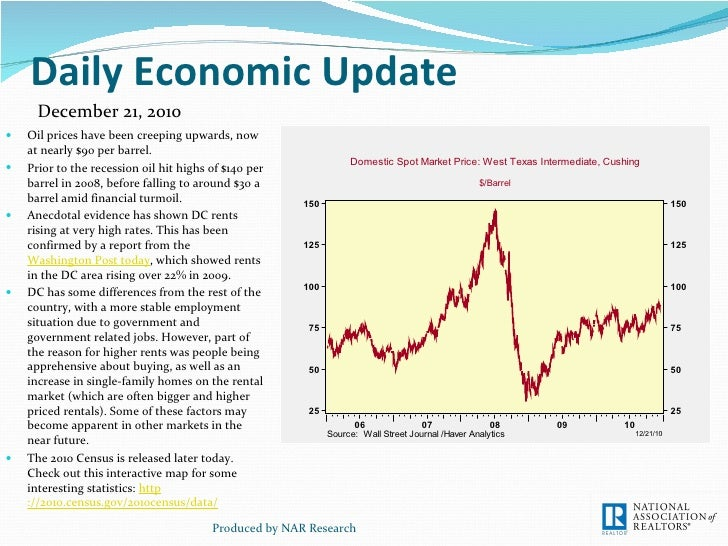 Daily Economic Update <ul><li>Oil prices have been creeping upwards, now at nearly $90 per barrel. </li></ul><ul><li>Prior...