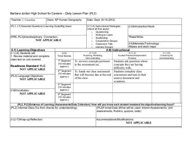 Barbara Jordan High School For Careers U2013 Daily Lesson Plan (PL3) Teacher: J  ...