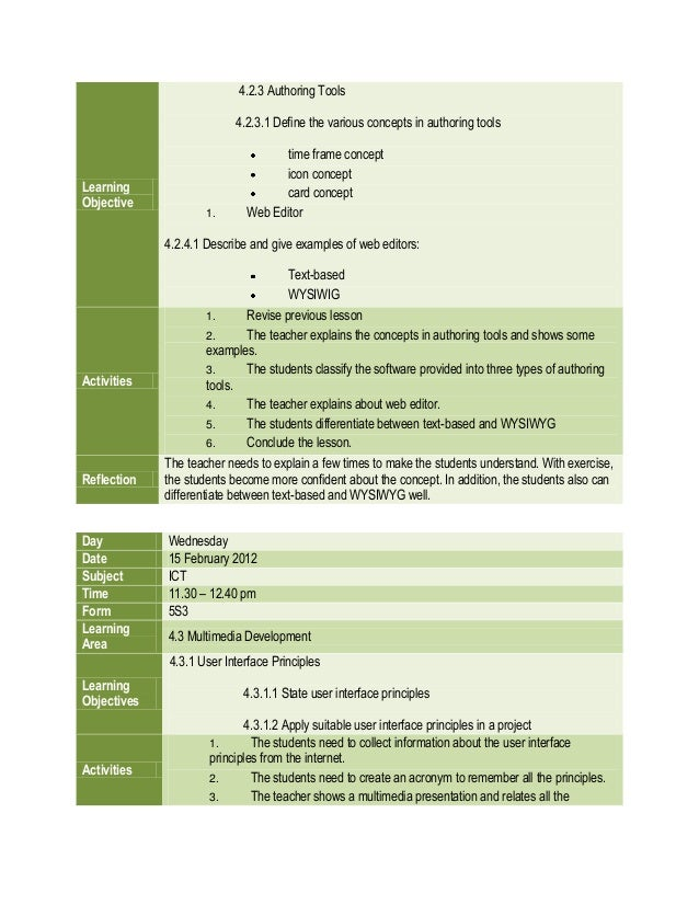 daily lesson plan ict form 5