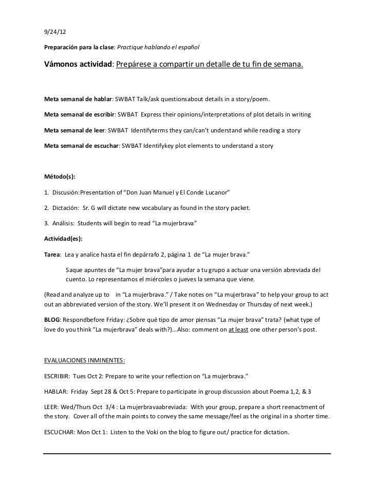 9/24/12Preparación para la clase: Practique hablando el españolVámonos actividad: Prepárese a compartir un detalle de tu f...