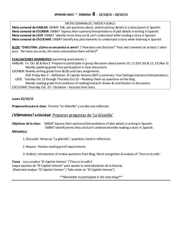 SPANISH 4ACC * SEMANA         8 - 22/10/12 – 26/10/12                                    METAS SEMANALES / WEEKLY GOALS:Me...