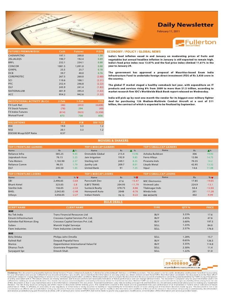 February 11, 2011 Volume: 1 | Issue: 389| November 1, 2010FUTURES PREMIUM/DISC                    Cash            Futures ...