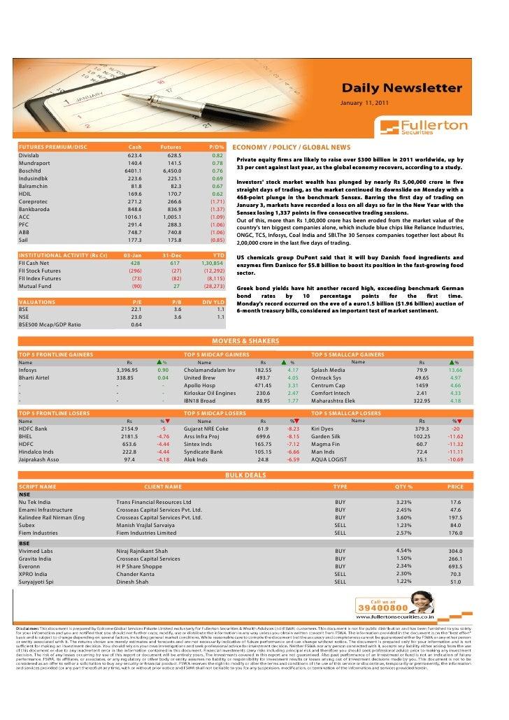 January 11, 2011     Volume: 1   Issue: 389  November 1, 2010  FUTURES PREMIUM/DISC                   Cash         Futures...