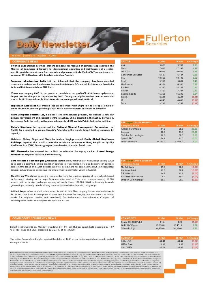 Fullerton Securities' Daily Market Newsletter : 12th October 2010 Slide 2