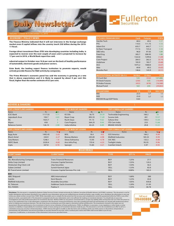 Daily Newsletter: 13th December, 2010 Slide 3