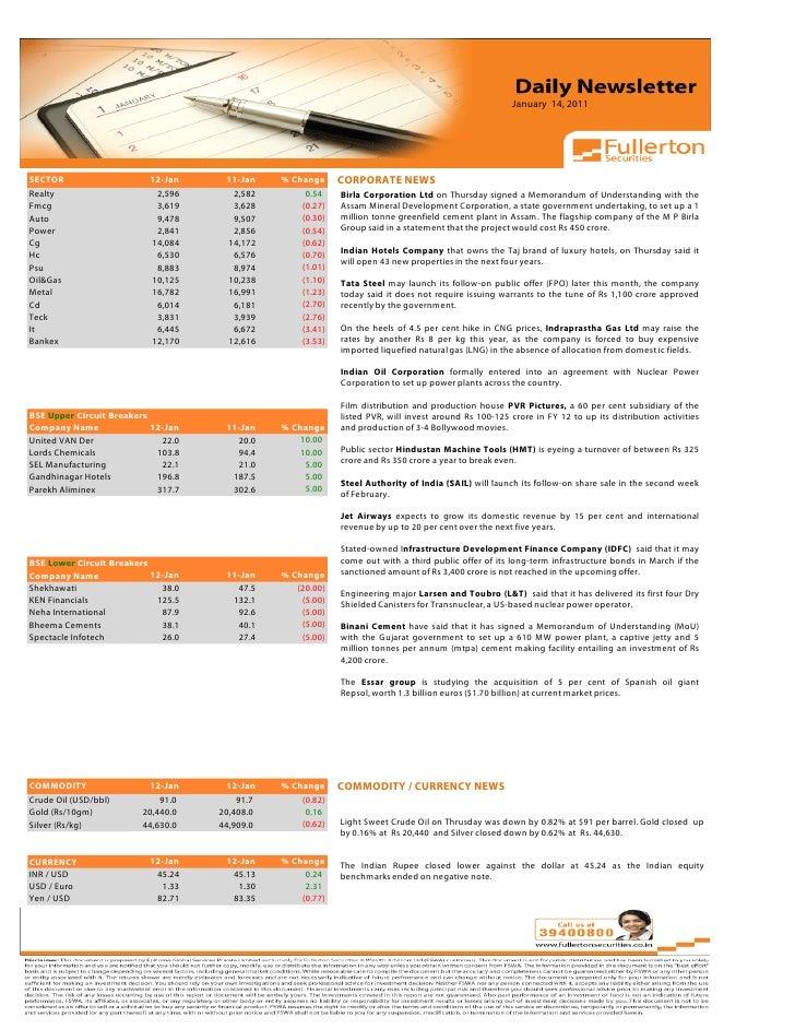 Daily Newsletter: 14th January, 2011 Slide 2