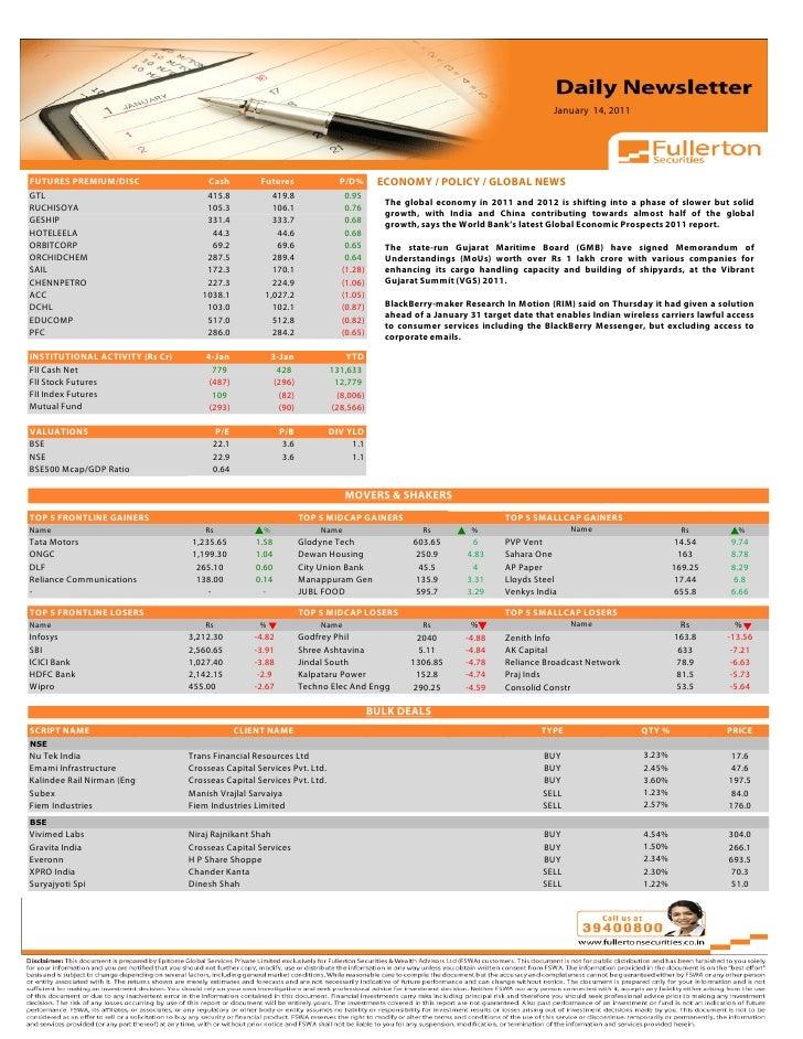 Daily Newsletter: 14th January, 2011 Slide 3