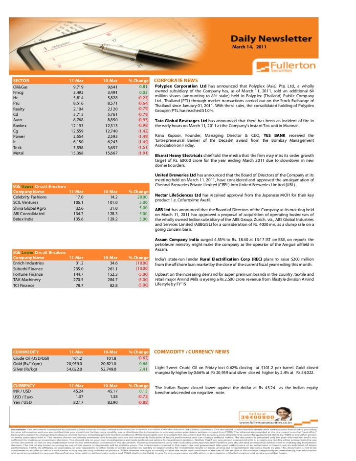 March 14, 2011 Volume: 1 | Issue: 389| November 1, 2010SECTOR                      11-Mar           10-Mar    % Change    ...