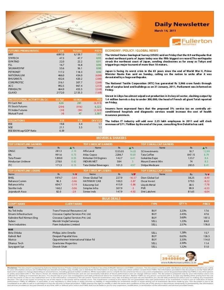 March 14, 2011 Volume: 1 | Issue: 389| November 1, 2010FUTURES PREMIUM/DISC                    Cash            Futures    ...