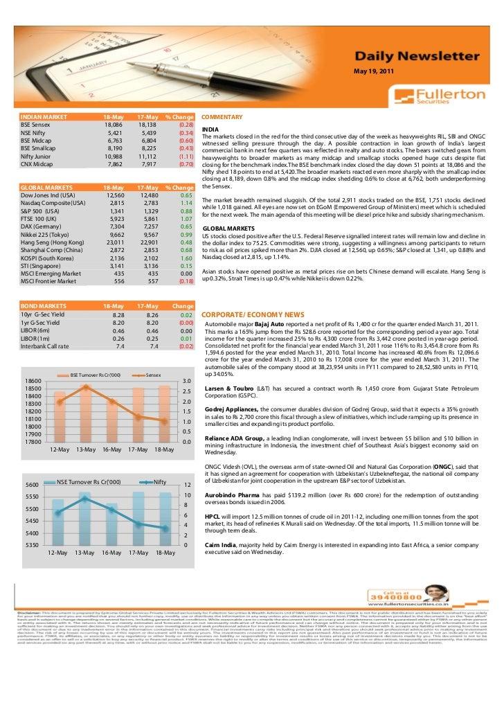 May 19, 2011Volume: 1   Issue: 389  November 1, 2010INDIAN MARKET                        18-May        17-May      % Chang...