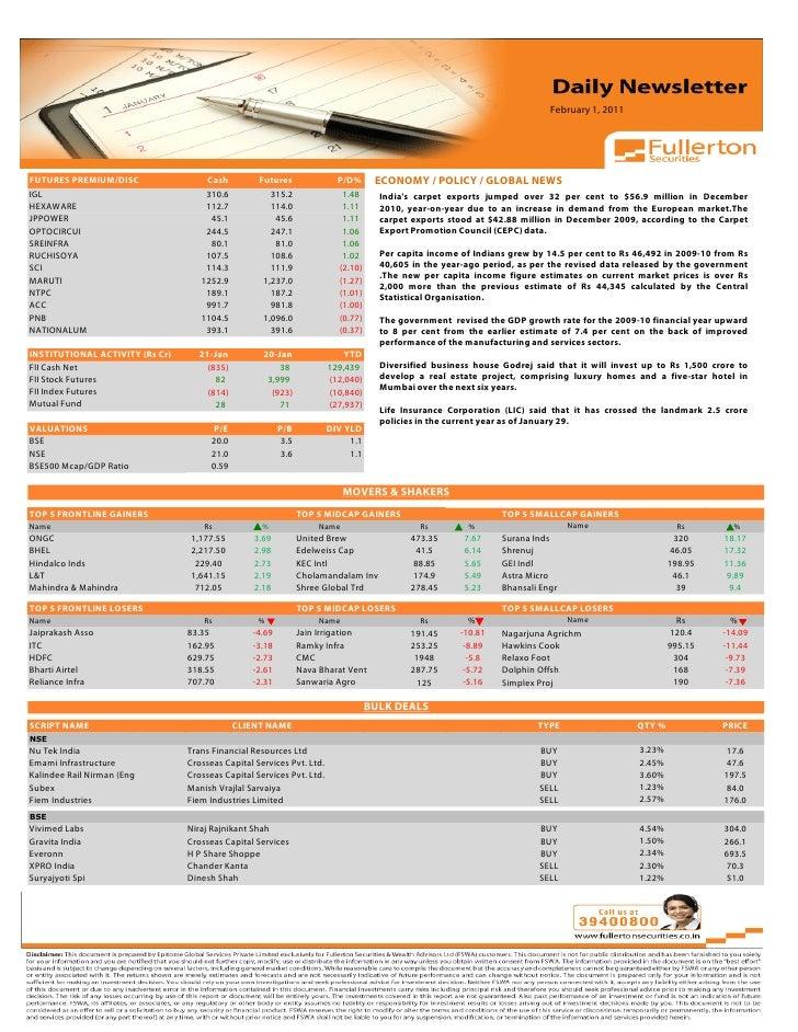 Daily Newsletter: 1st February, 2011 Slide 3